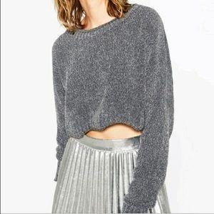 Zara Gray/Silver Glitter Cropped Knit Sweater